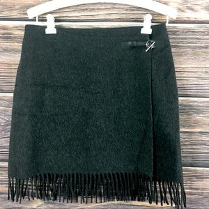 JENNE MAAC Wool Blend Fringe Charcoal Gray Skirt 8